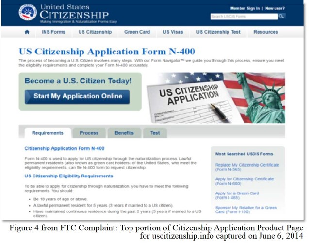 Figure 4 - FTC complaint against American Immigration Center