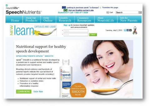 SpeechNutrients website