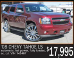 advertisement for 2008 Chevy Tahoe LS, $17,995