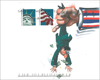 Envelope showing a large arm shaking money from a consumer who is strung upside down.