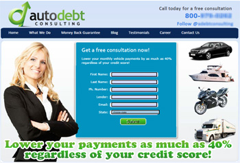 "The Auto Debt Consulting website offered a free consultation and to ""Lower your payments as much as 40 percent regardless of your credit score"""
