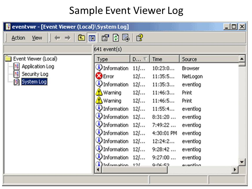 Sample Windws Event Viewer