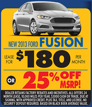 New 2013 Ford Fusion. Lease for $180 per month or 25% off MSRP!