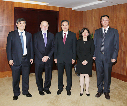 Federal Trade Commission Chairwoman Edith Ramirez and William J. Baer, Assistant Attorney General in charge of the Department of Justice's Antitrust Division, with officials from China's three antitrust agencies