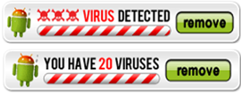 "Example mobile app ads falsely claiming that a virus was detected on the consumer's mobile device, one saying ""Virus detected"", another saying ""You have 20 viruses""."