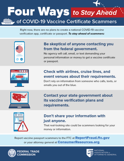 Avoid COVID vaccine certificate scams