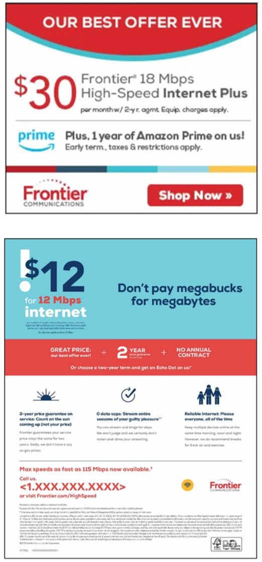 Frontier ads cited in FTC complaint