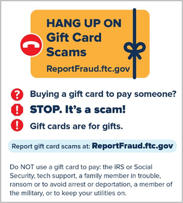 FTC gift card scams toolkit