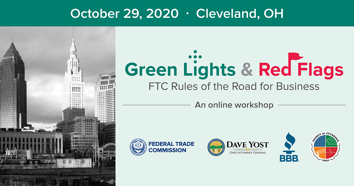 Green Lights and Red Flags logo, displaying a Cleveland skyline.