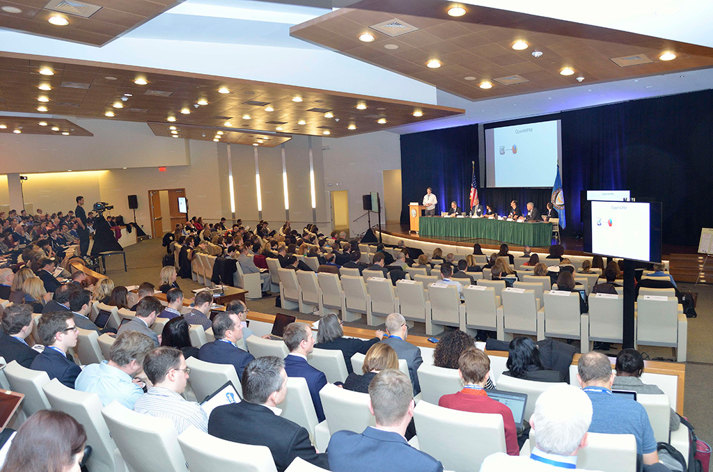 audience and stage at the FTC PrivacyCon event