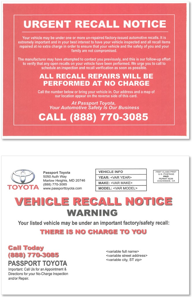 Deceptive recall notice sent by car dealership