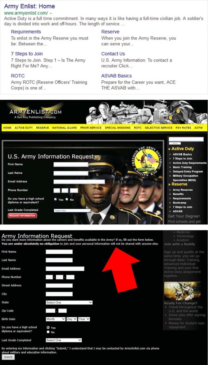 Picture of typical search results and armyenlist.com webpages