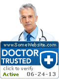 "Seal indicating website belonged to ""Doctor Trusted"" certification program: photo of a doctor, website URL, ""click to verify"", and active date."