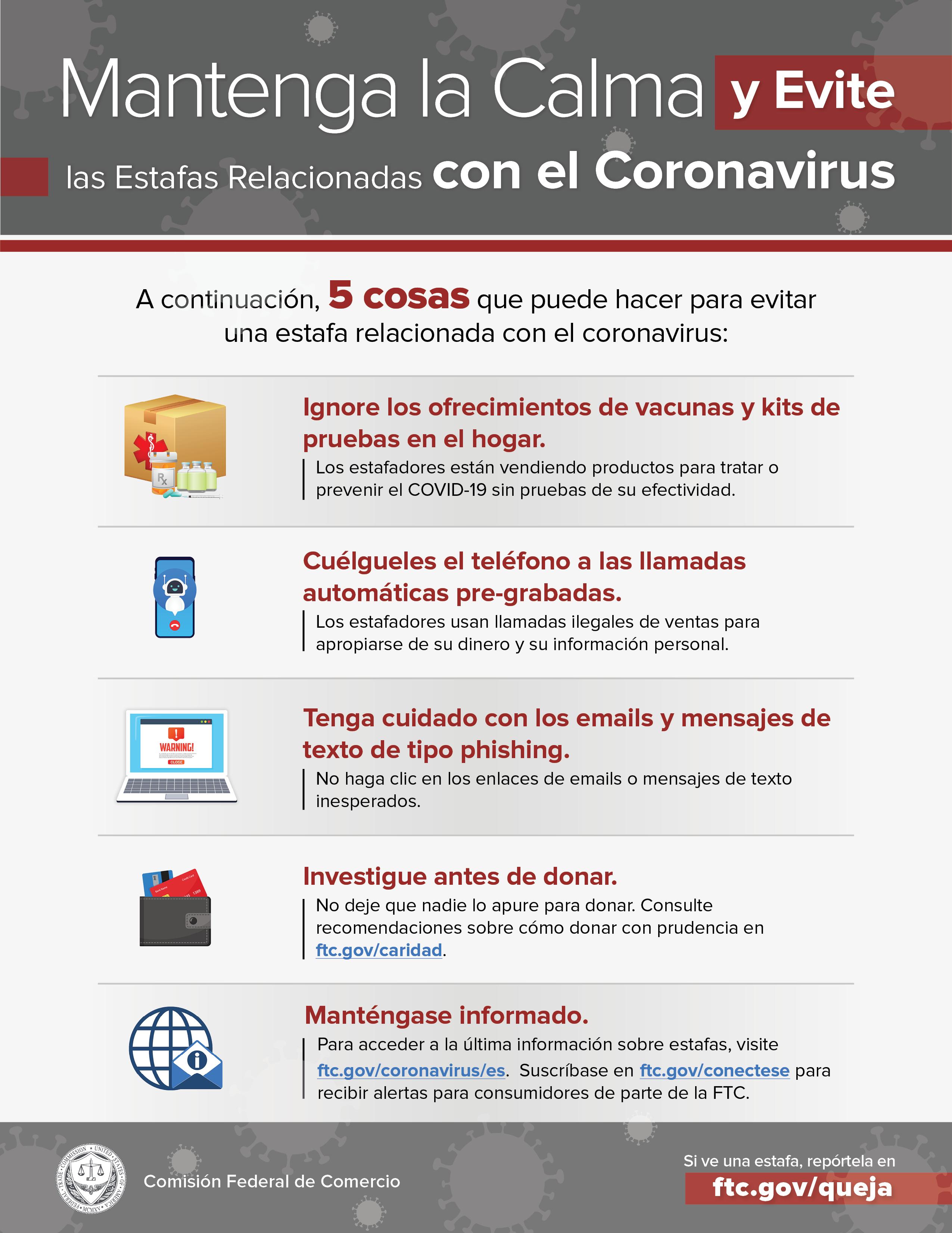 Keep Calm and Avoid Coronavirus Scams inforgraphic thumbnail.