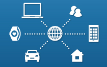 Graphic showing icons for computer, smart watch, car, home, mobile device and users connecting to a central internet hub