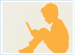 Silhouette of a sitting child reading