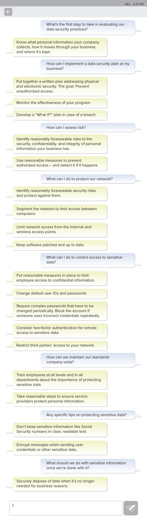 Time 2 Txt About Data Security Basics Federal Trade Commission