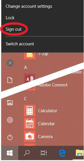 Windows Sign Out button