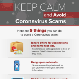 Keep Calm and Avoid Coronavirus Scams inforgraphic thumbnail.