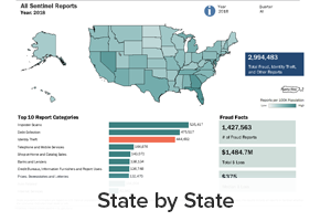 State by State reports including reports per 100K population, top 10 report categories, total fraud, identity theft, and other reports and fraud facts (# of fraud reports, total $ loss and median $ loss)
