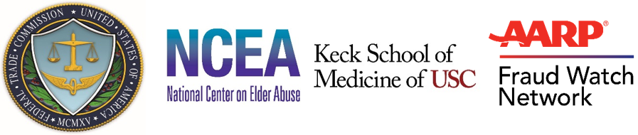 logos of Federal Trade Commission, National Center on Elder Abuse, Keck School of Medicine of USC, and AARP Fraud Watch Network