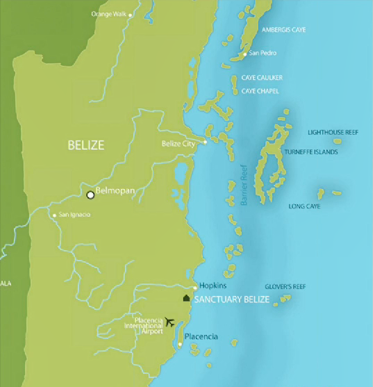 Map of Belize showing location of Sanctuary Belize on the coast, just north of Placencia and Placencia International Airport. Belmopan is to the northwest, and Belize City is to the north.