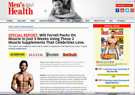 "Example fake media website, in this case, Men's Life & Health, featuring supposed celebrity endorsements, in this case, Joe Manganiello, and ""As seen on: Maxim, Men's Health, etc."" banner."
