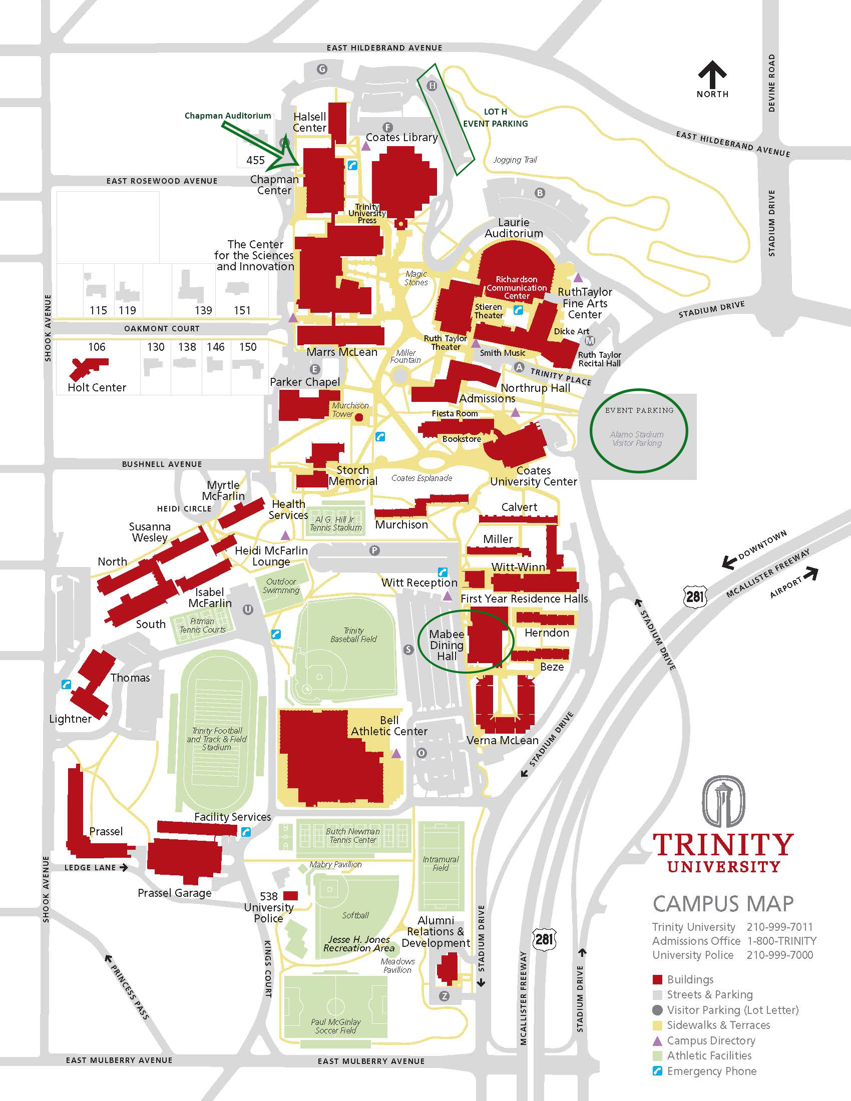 Map of the Trinity University campus. Chapman Auditorium is located near Lot H Event Parking, and next to Halsell Center and the Center for the Sciences and Innovation at Rosewood Avenue near the northwestern corner of campus.