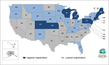 registry map of usa showing states with hest and lowest numbers on the do not call - Registry