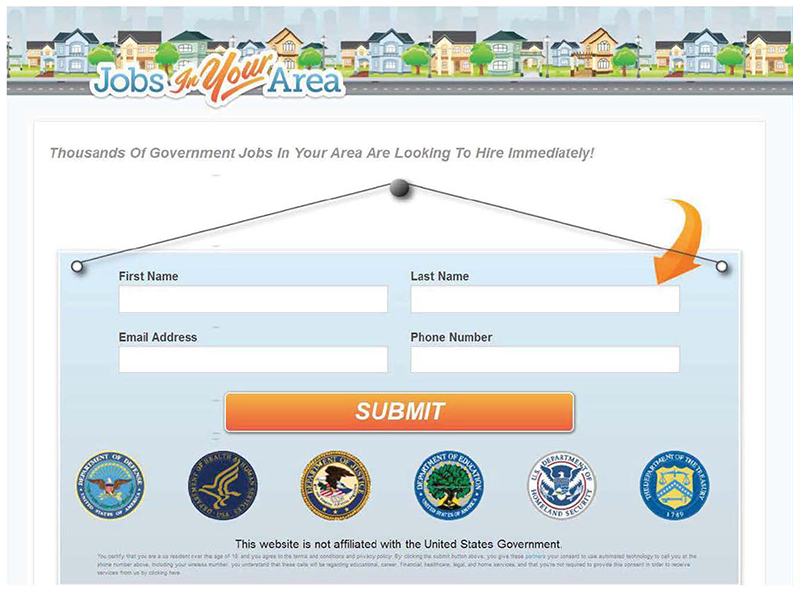 FTC Exhibit: screenshot of website claiming to find government jobs for users