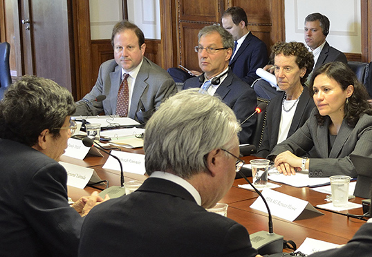 photo of FTC and JFTC officials in a meeting: Andrew Heimert, Office of International Affairs; Randy Tritell, Director, Office of International Affairs; Debbie Feinstein, Director, Bureau of Competition; and Chairwoman Edith Ramirez