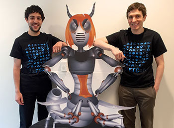 Photo of two men and a computer-generated character representing the fictional 'Rachel' villain character of FTC's past Robocall challenges