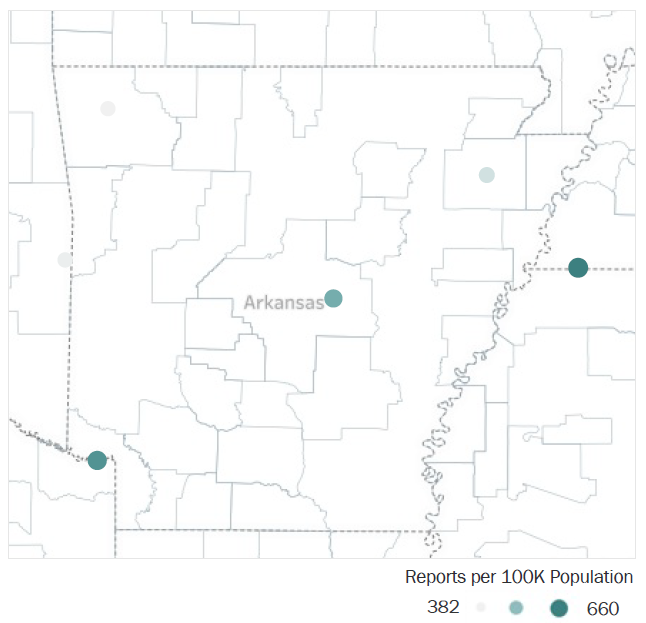 Map of Arkansas Metropolitan Statistical Areas showing number of reports per 100K population, ranging from a low of 382 to a high of 660. See attached CSV file for report data by MSA.