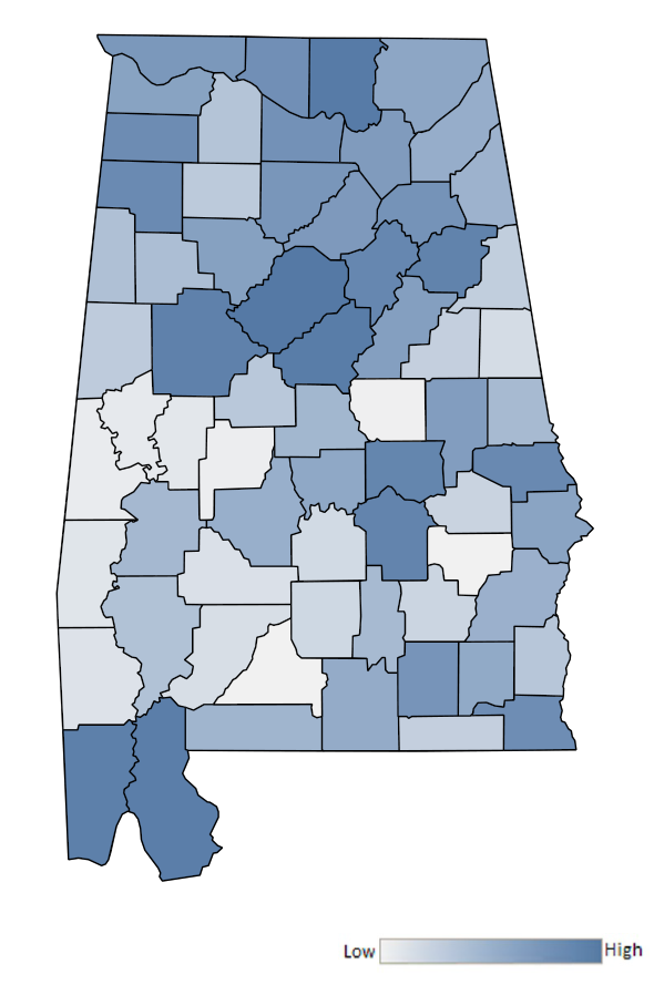 Map of Alabama counties indicating relative number of complaints from low to high. See attached CSV file for complaint data by jurisdiction.