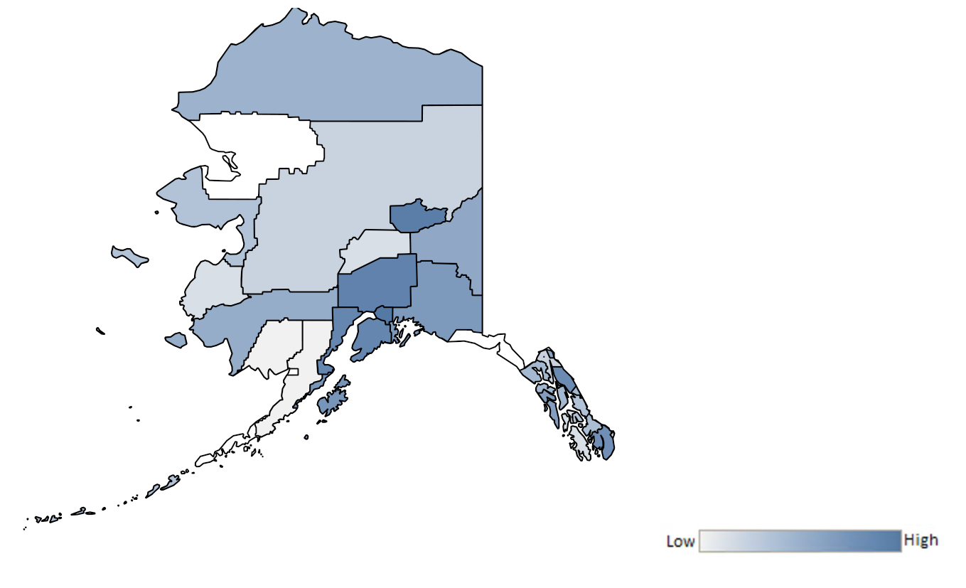 Map of Alaska counties indicating relative number of complaints from low to high. See attached CSV file for complaint data by jurisdiction.