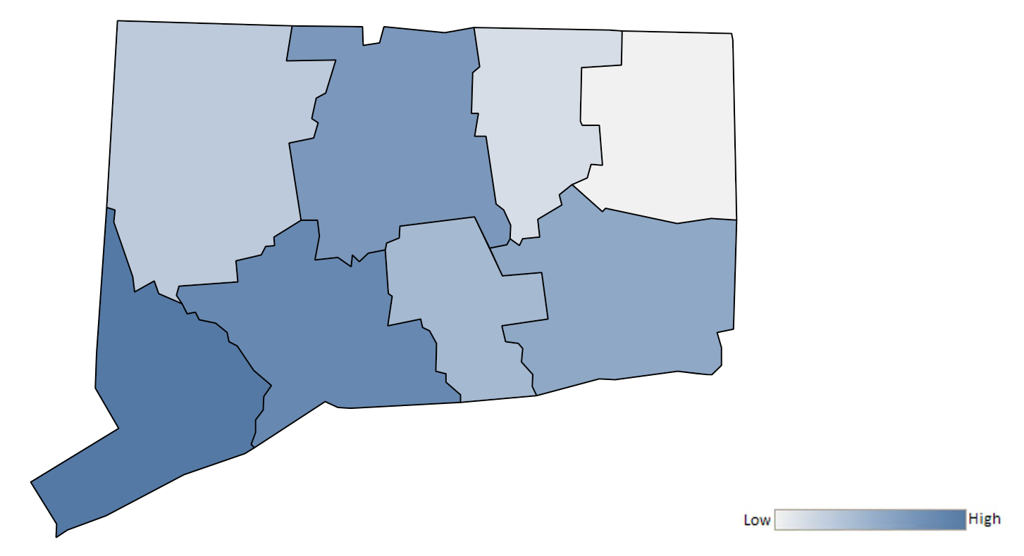 Map of Connecticut counties indicating relative number of complaints from low to high. See attached CSV file for complaint data by jurisdiction.ed CSV file for complaint data by jurisdiction.