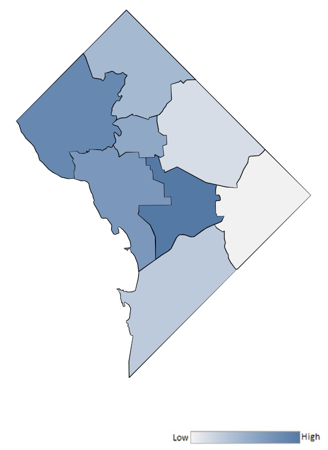 Map of District of Columbia wards indicating relative number of complaints from low to high. See attached CSV file for complaint data by jurisdiction.