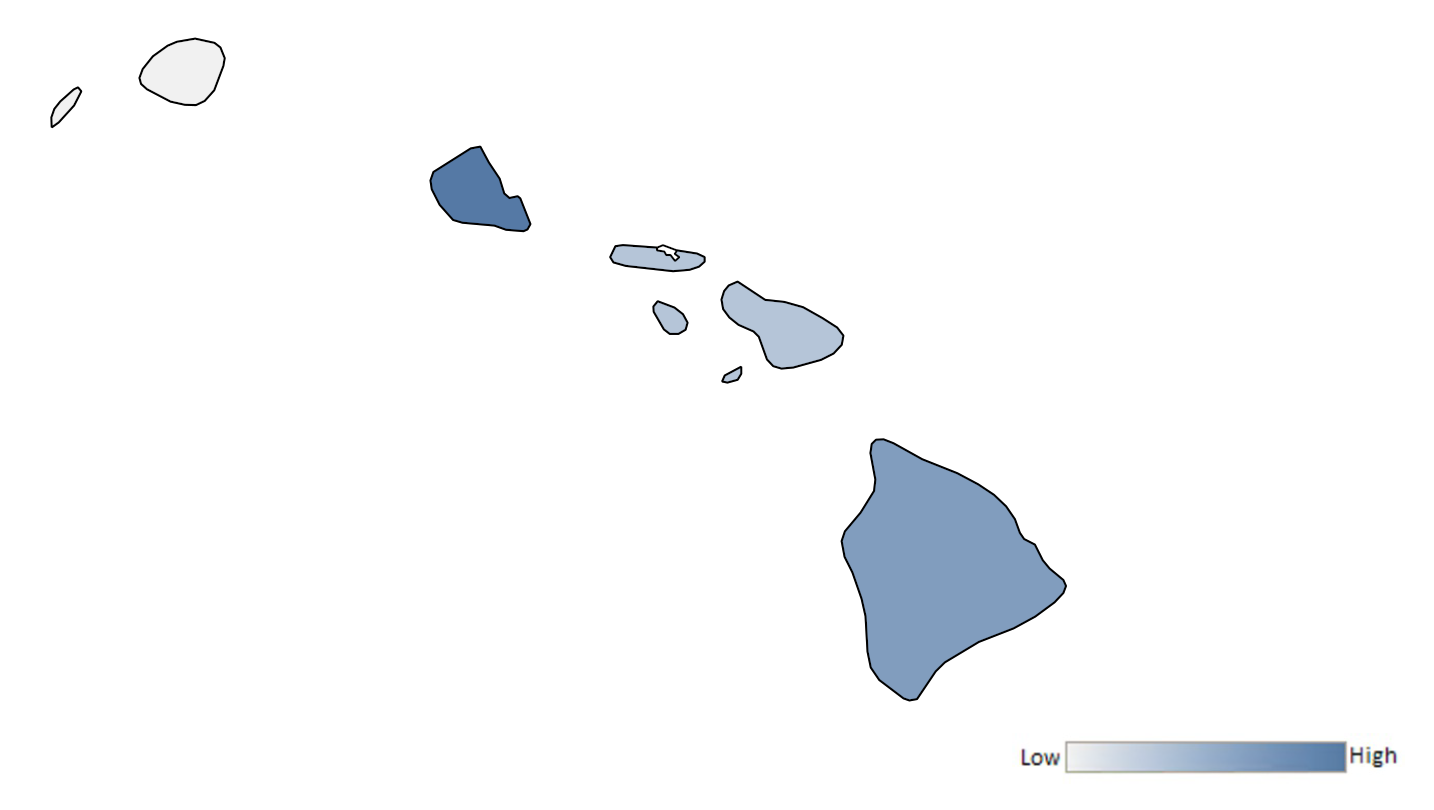 Map of Hawaii counties indicating relative number of complaints from low to high. See attached CSV file for complaint data by jurisdiction.