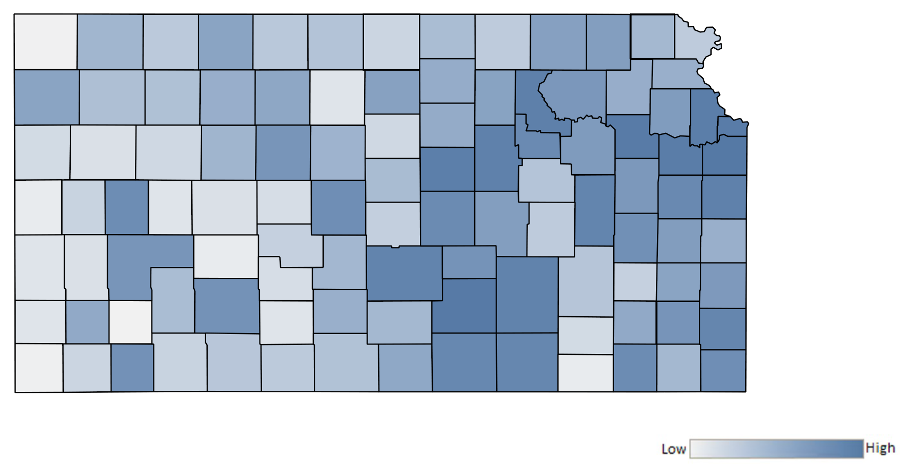 Map of Kansas counties indicating relative number of complaints from low to high. See attached CSV file for complaint data by jurisdiction.