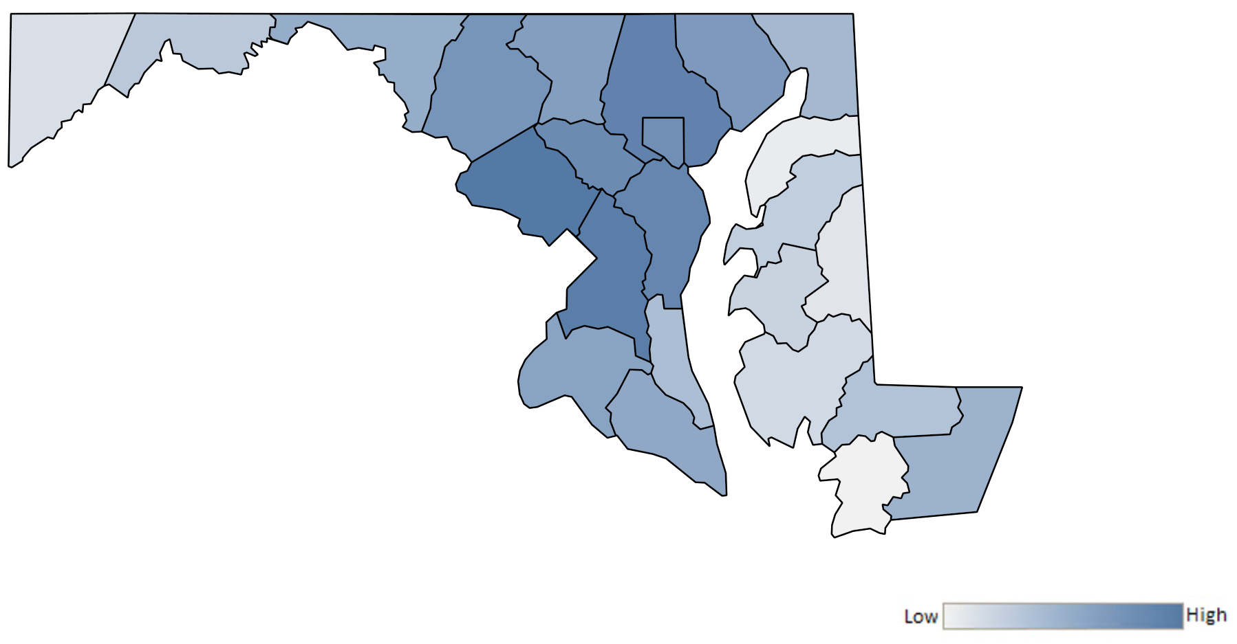 Map of Maryland counties indicating relative number of complaints from low to high. See attached CSV file for complaint data by jurisdiction.