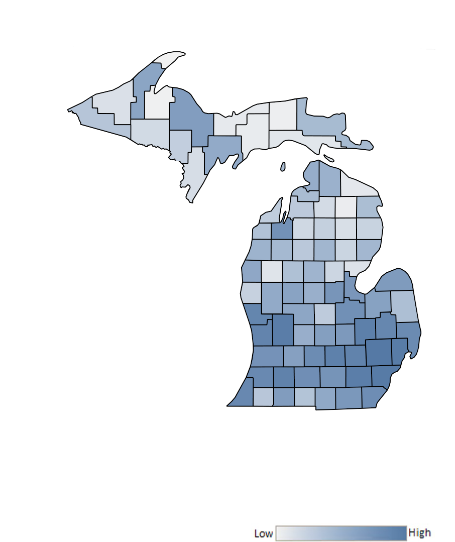 Map of Michigan counties indicating relative number of complaints from low to high. See attached CSV file for complaint data by jurisdiction.