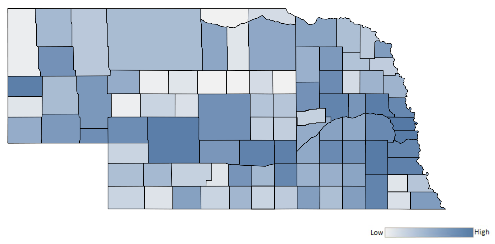 Map of Nebraska counties indicating relative number of complaints from low to high. See attached CSV file for complaint data by jurisdiction.