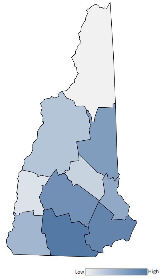 Map of New Hampshire counties indicating relative number of complaints from low to high. See attached CSV file for complaint data by jurisdiction.