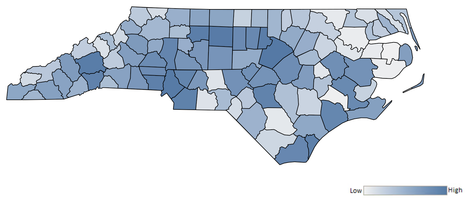 Map of North Carolina counties indicating relative number of complaints from low to high. See attached CSV file for complaint data by jurisdiction.