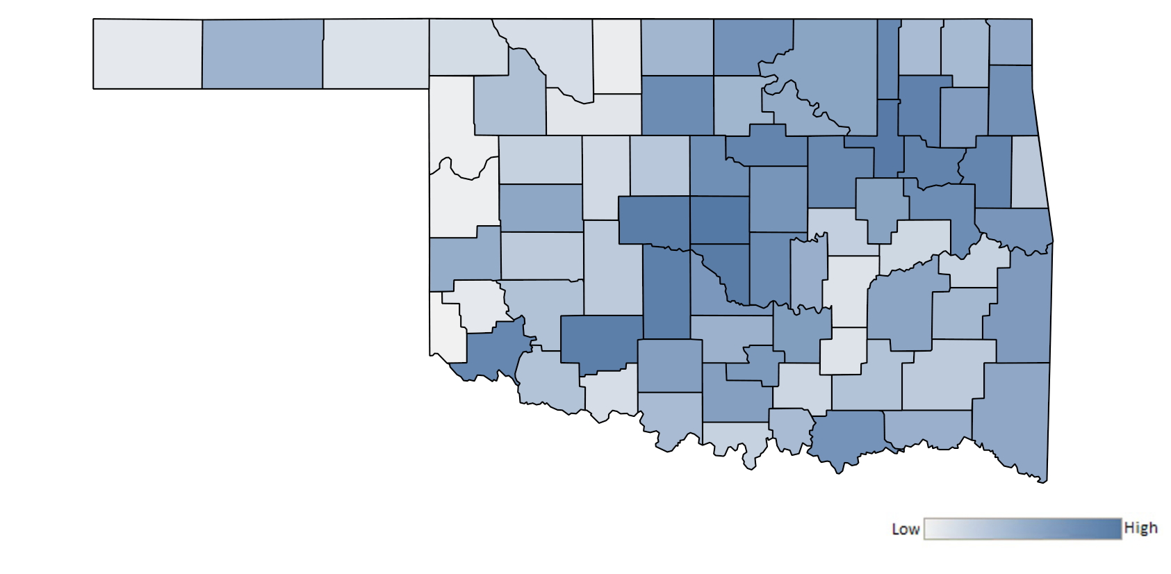 Map of Oklahoma counties indicating relative number of complaints from low to high. See attached CSV file for complaint data by jurisdiction.