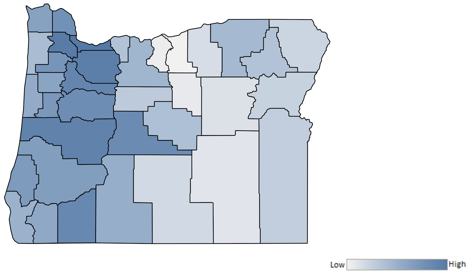 Map of Oregon counties indicating relative number of complaints from low to high. See attached CSV file for complaint data by jurisdiction.