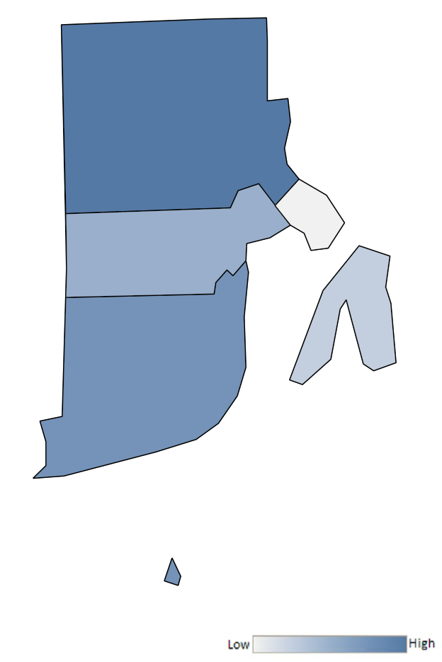 Map of Rhode Island counties indicating relative number of complaints from low to high. See attached CSV file for complaint data by jurisdiction.