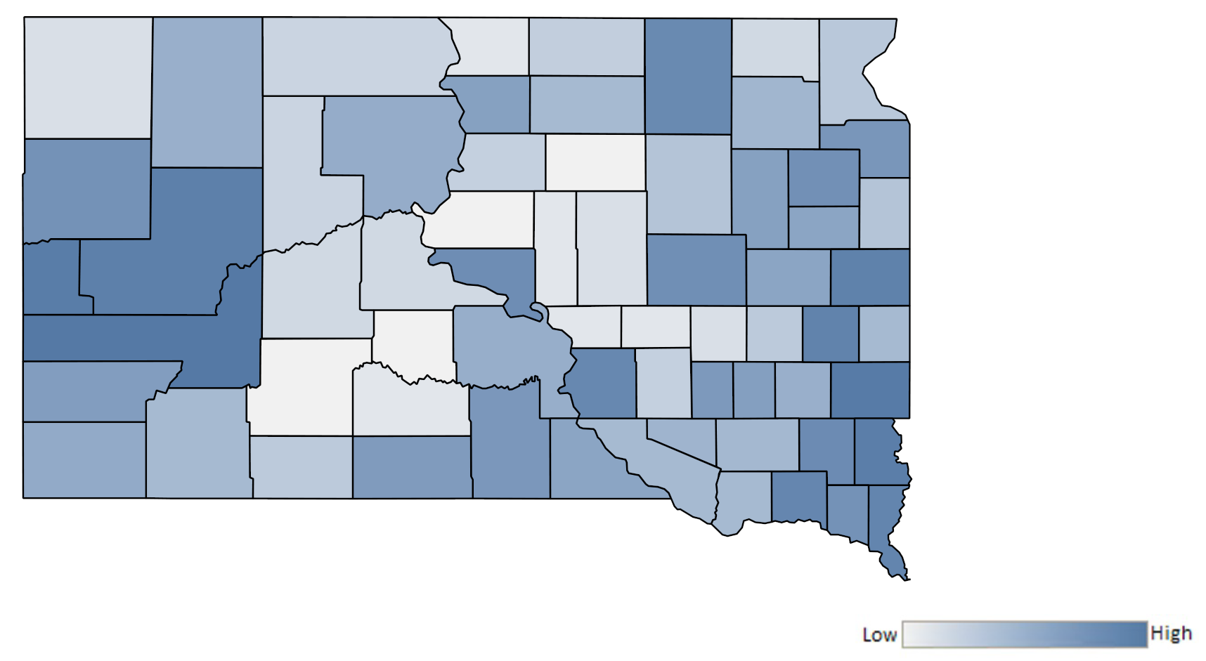 Map of South Dakota counties indicating relative number of complaints from low to high. See attached CSV file for complaint data by jurisdiction.