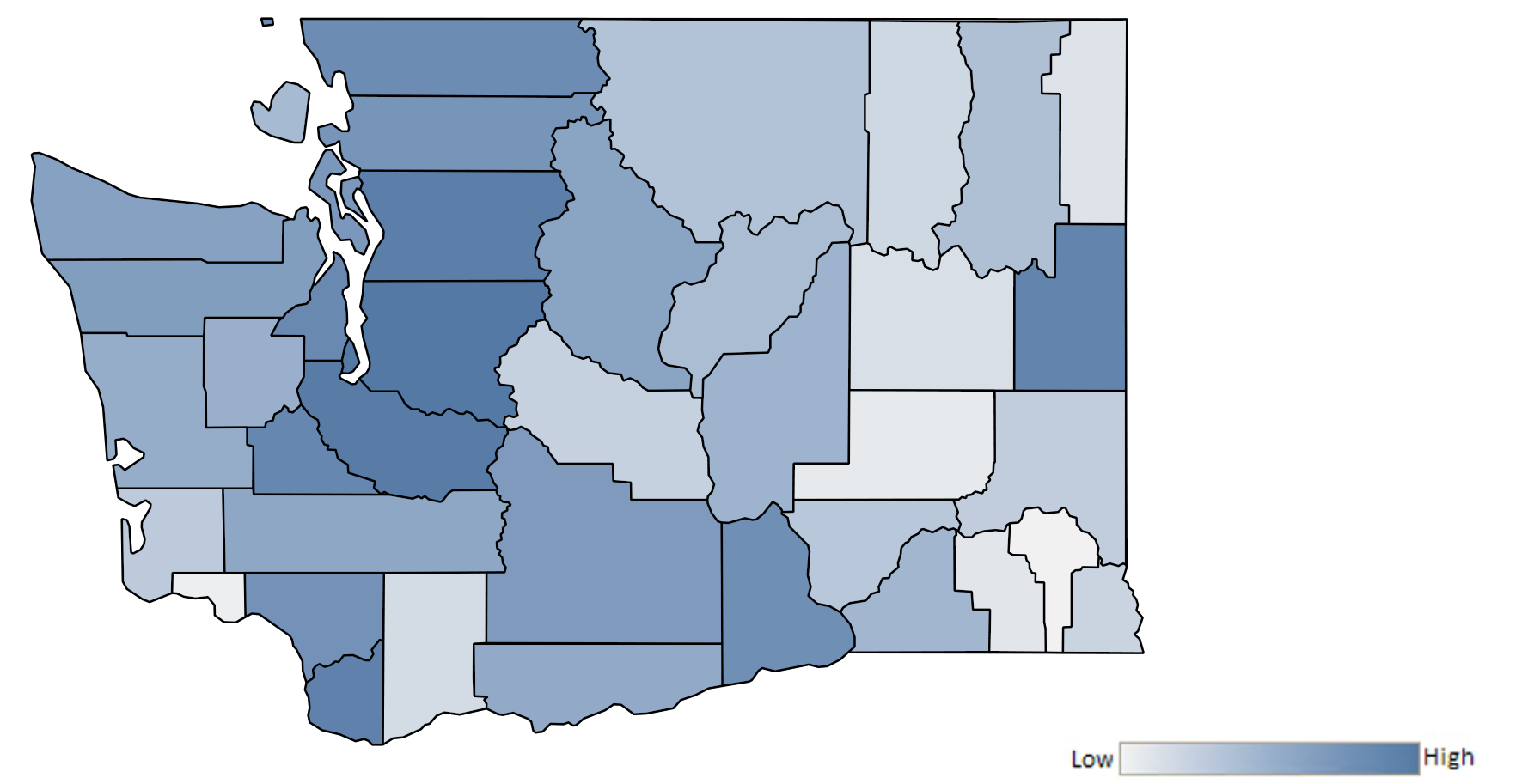 Map of Washington counties indicating relative number of complaints from low to high. See attached CSV file for complaint data by jurisdiction.