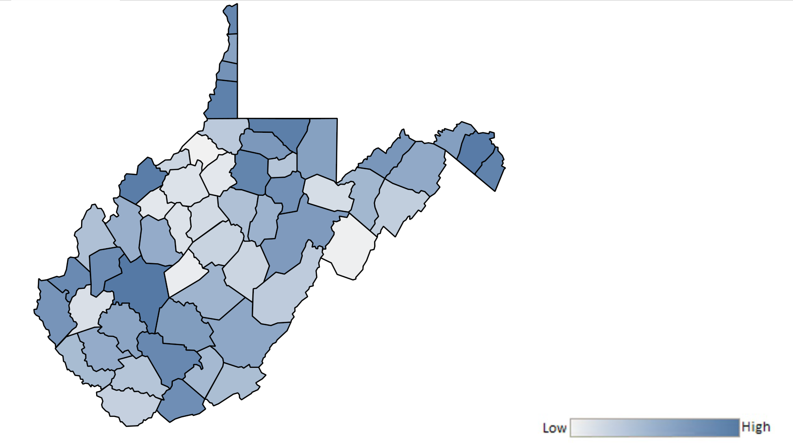 Map of West Virginia counties indicating relative number of complaints from low to high. See attached CSV file for complaint data by jurisdiction.